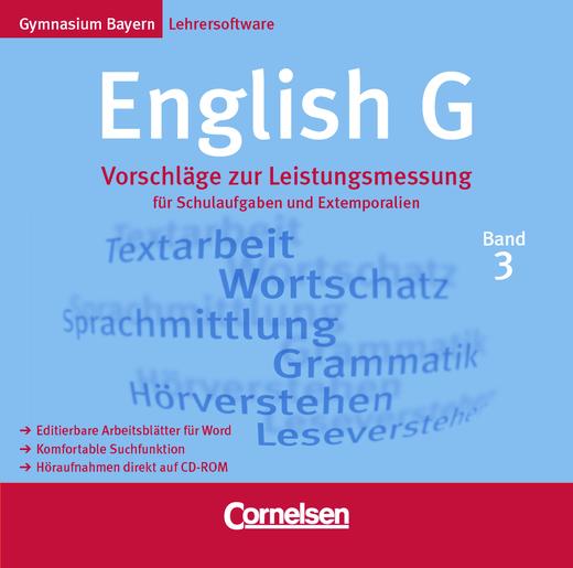 English G - Vorschläge zur Leistungsmessung: Elektronische Ausgabe - Für Schulaufgaben und Extemporalien - CD-Extra - Band 3: 7. Jahrgangsstufe