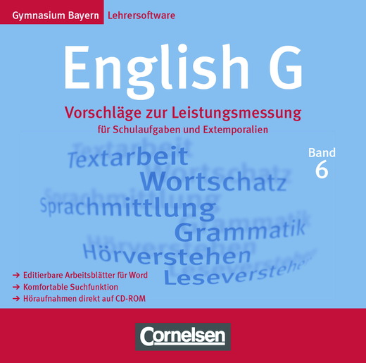 English G - Vorschläge zur Leistungsmessung: Elektronische Ausgabe - Für Schulaufgaben und Extemporalien - CD-Extra - Band 6: 10. Jahrgangsstufe