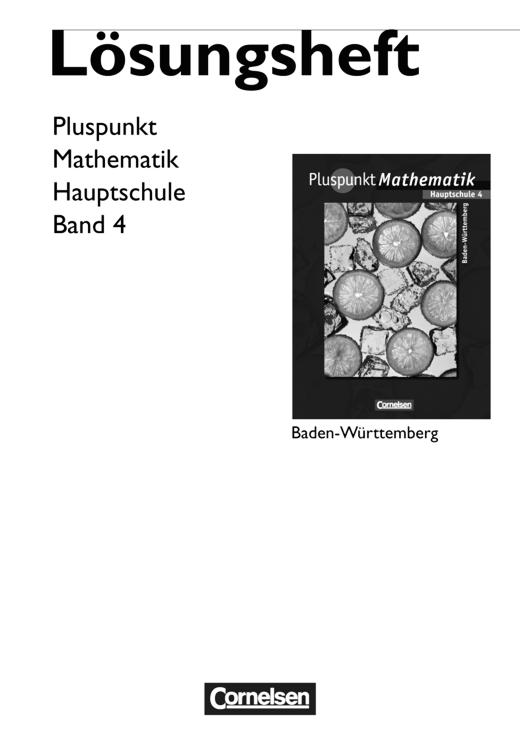 Pluspunkt Mathematik - Lösungen zum Schülerbuch - Band 4