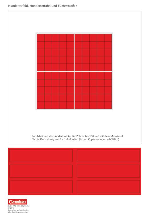 eins-zwei-drei - Hunderterfeld, Hundertertafel, Fünferstreifen - Kartonbeilagen - 2. Schuljahr