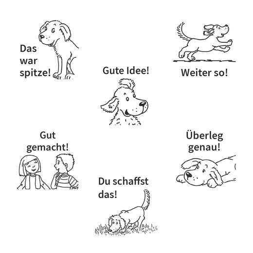 Jo-Jo Mathematik - Lobstempelset bestehend aus 6 Stempeln, 6 Farben und einem Stempelträger - 1.-4. Schuljahr