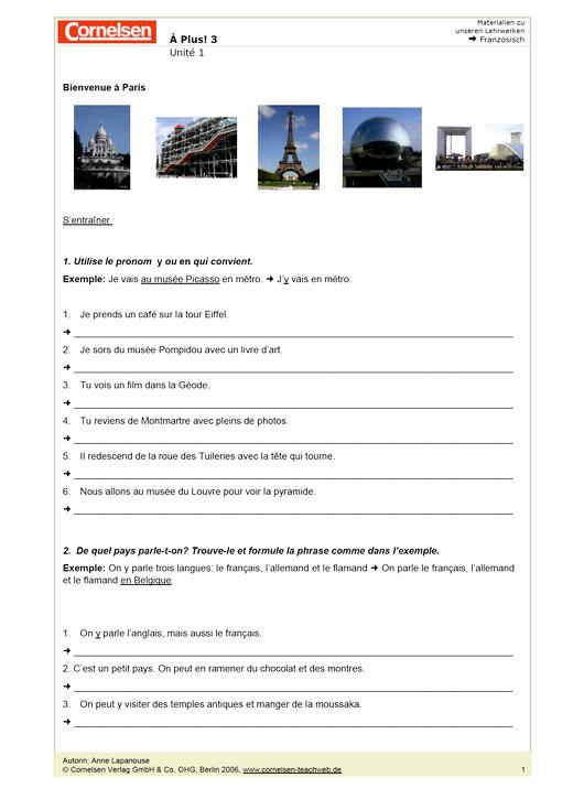 À plus ! 3, Unité 1: Arbeitsblätter: Bienvenue à Paris ...