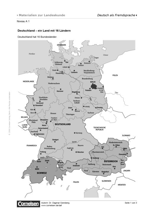 Ein Land mit 16 Ländern - Arbeitsblatt | Cornelsen