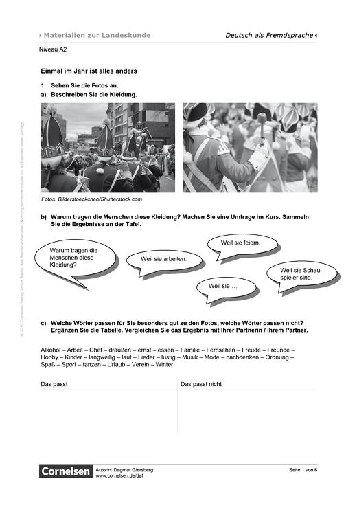 Einmal im Jahr ist alles anders - Karneval - Arbeitsblatt | Cornelsen