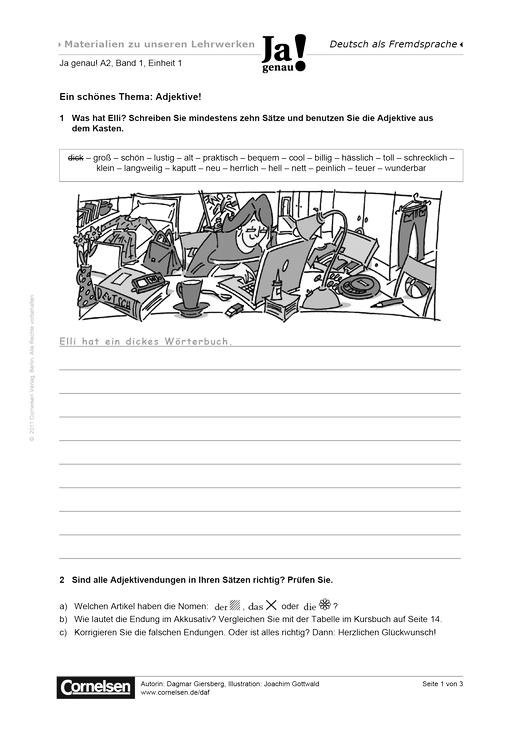 Ein schönes Thema: Adjektive! - Arbeitsblatt | Cornelsen