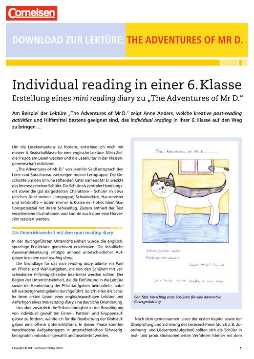 Download zur Lektüre The Adventures of Mr D - Arbeitsblatt   Cornelsen