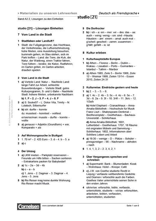 Lösungen Zu Den Einheiten A22 Lösungen Cornelsen