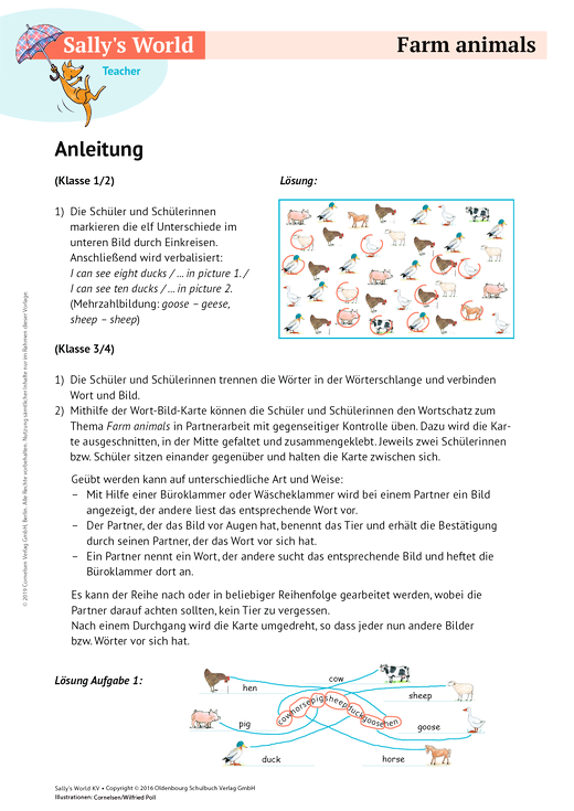 farm animals arbeitsblatt cornelsen. Black Bedroom Furniture Sets. Home Design Ideas