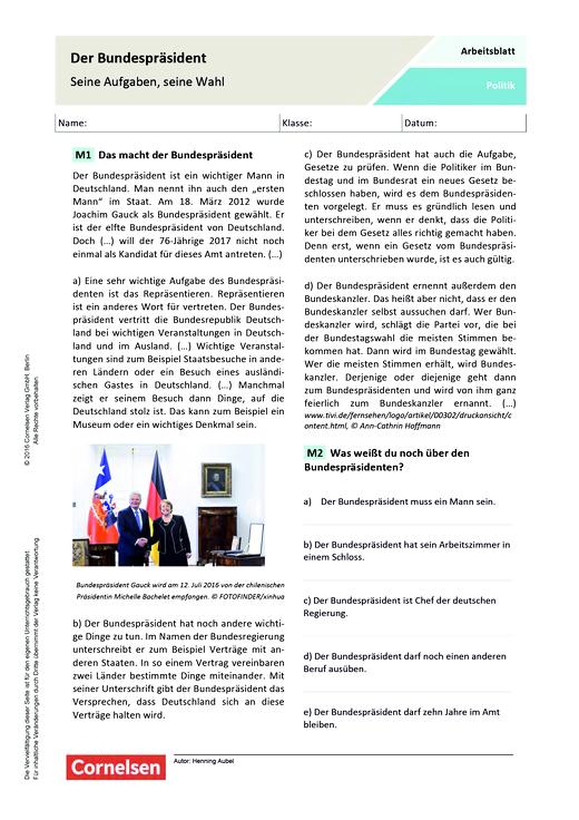 Der Bundespräsident - Seine Aufgaben, seine Wahl - Arbeitsblatt ...