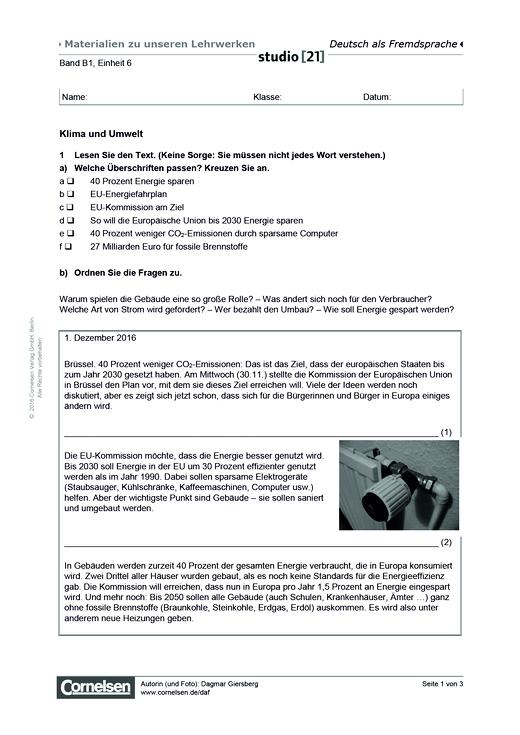 B1 Einheit 6: Klima und Umwelt - Arbeitsblatt | Cornelsen