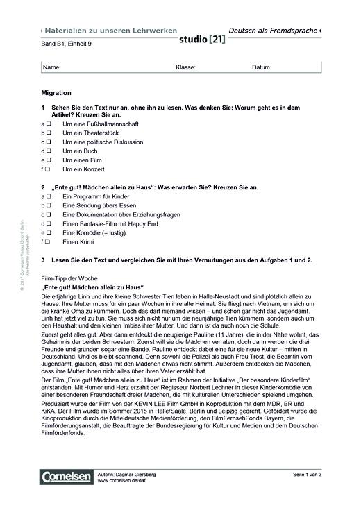 B1 Einheit 9: Migration - Arbeitsblatt | Cornelsen