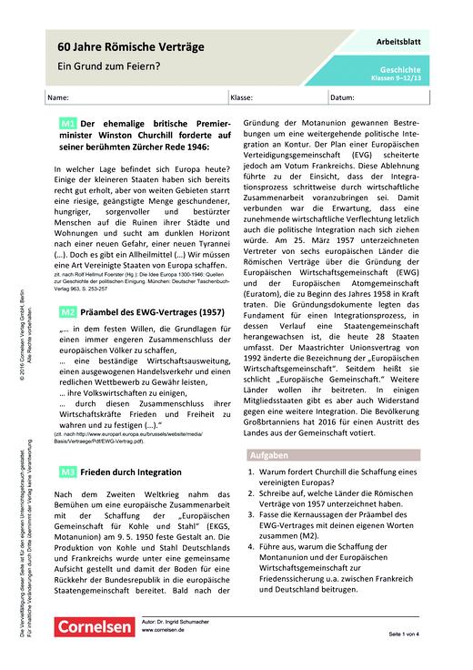 60 Jahre Römische Verträge – ein Grund zum Jubeln? - Arbeitsblatt ...