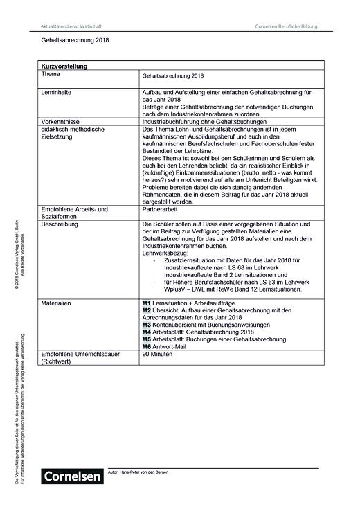 Lernsituation: Gehaltsabrechnung 2018 - Arbeitsblatt   Cornelsen