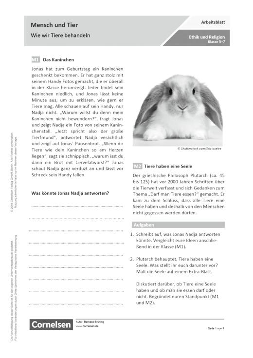 Mensch und Tier – Wie wir Tiere behandeln - Arbeitsblatt | Cornelsen
