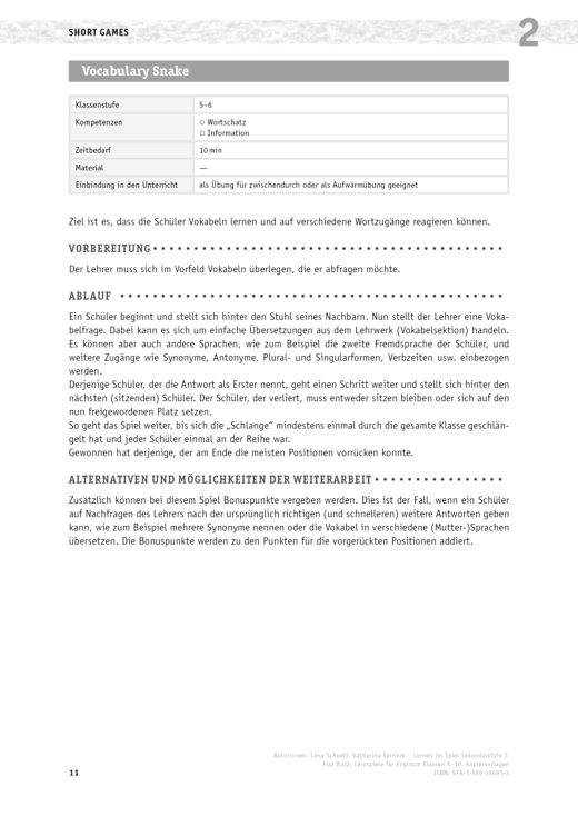 Vokabulary Snake - Lernspiel - Arbeitsblatt   Cornelsen