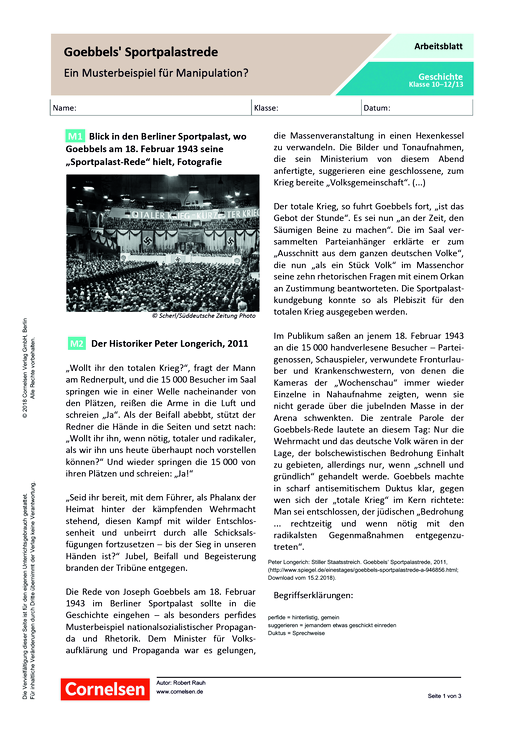 Goebbels Sportpalastrede – ein Musterbeispiel für Manipulation ...