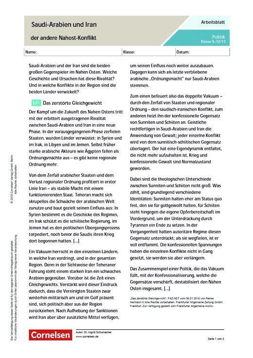 Saudi-Arabien und Iran – der andere Nahost-Konflikt - Arbeitsblatt ...