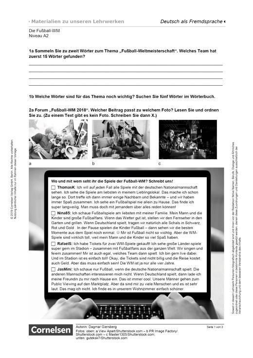 Die Fußball-WM (A2) - Arbeitsblatt | Cornelsen