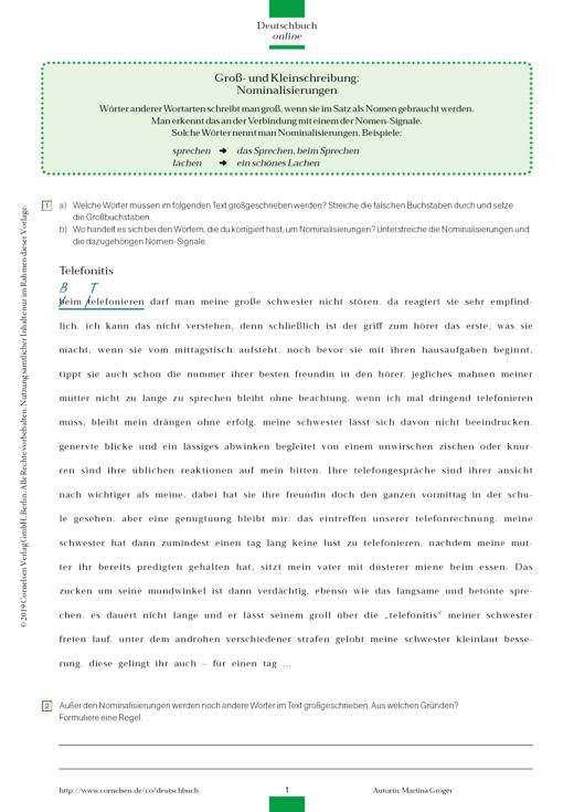 Groß- und Kleinschreibung: Nominalisierungen - Arbeitsblatt   Cornelsen