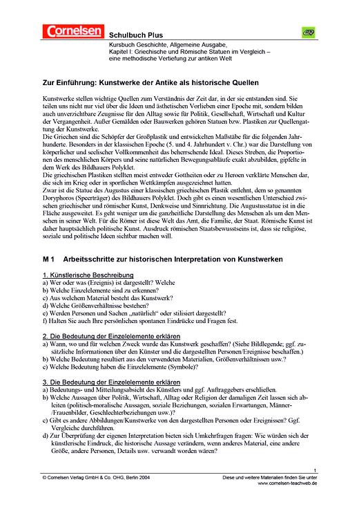 Antike Kunstwerke als historische Quellen: Griechische und Römische ...