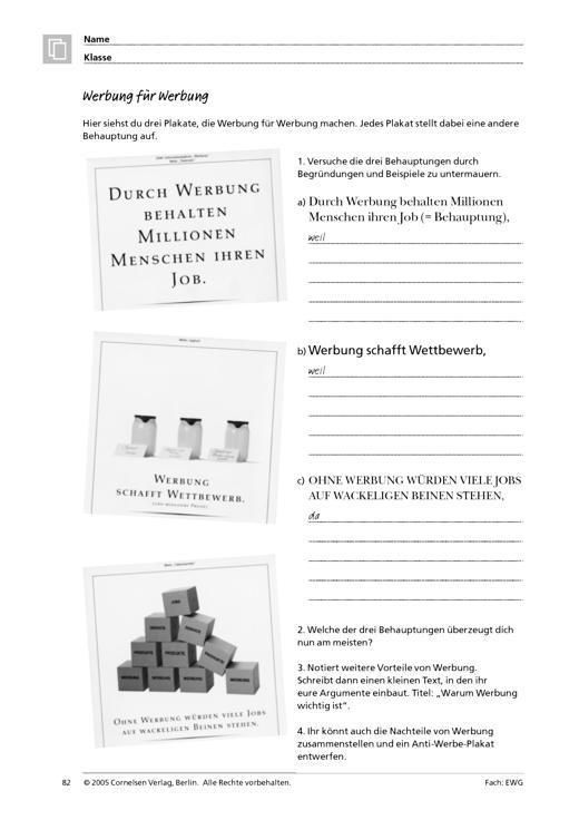 Werbung für Werbung - Arbeitsblatt | Cornelsen