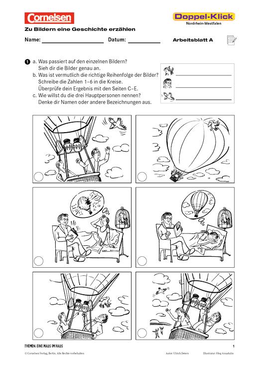 zu bildern eine geschichte erz hlen ein traum mit ballon und vogel arbeitsblatt cornelsen. Black Bedroom Furniture Sets. Home Design Ideas