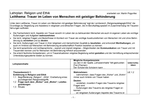 Bildungsplan Religion und Ethik - Arbeitsblatt   Cornelsen