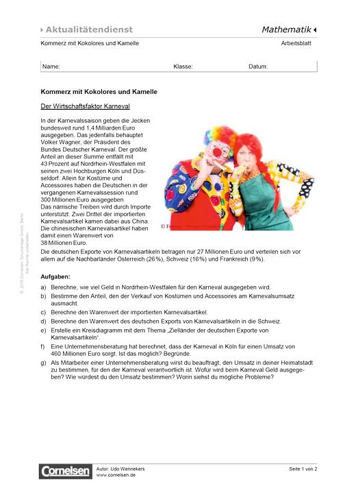 Kommerz mit Kokolores und Kamelle - Der Wirtschaftsfaktor Karneval ...