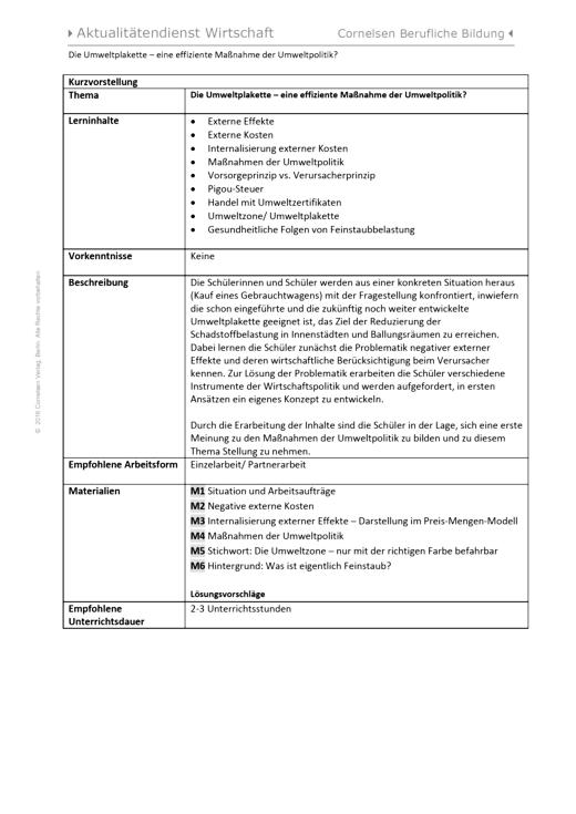 Lernsituation zum Thema Umweltpolitik - Arbeitsblatt | Cornelsen