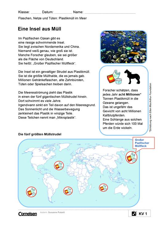 Flaschen, Netze und Tüten: Plastikmüll im Meer - Arbeitsblatt ...
