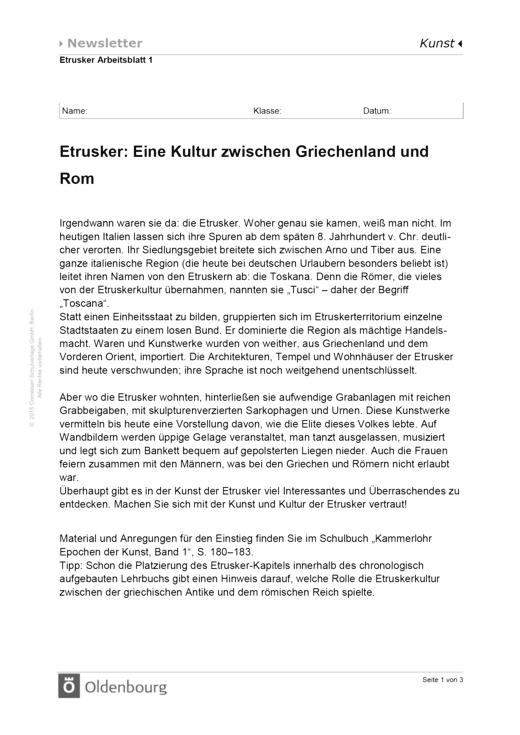 Etrusker: Eine Kultur zwischen Griechenland und Rom - Arbeitsblatt ...