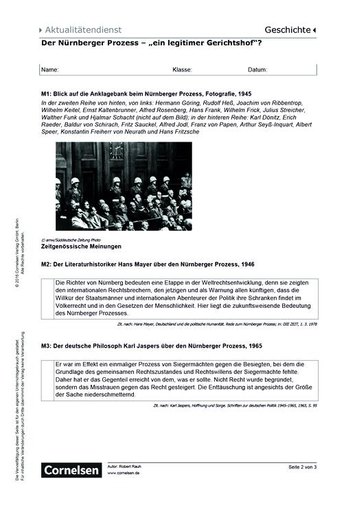 70. Jahrestag: Nürnberger Prozess –ein legitimer Gerichtshof ...