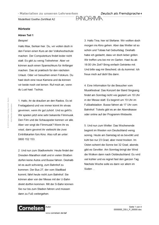 Transkripte Der Hörtexte Aus Dem Modelltest Goethe Zertifikat A2