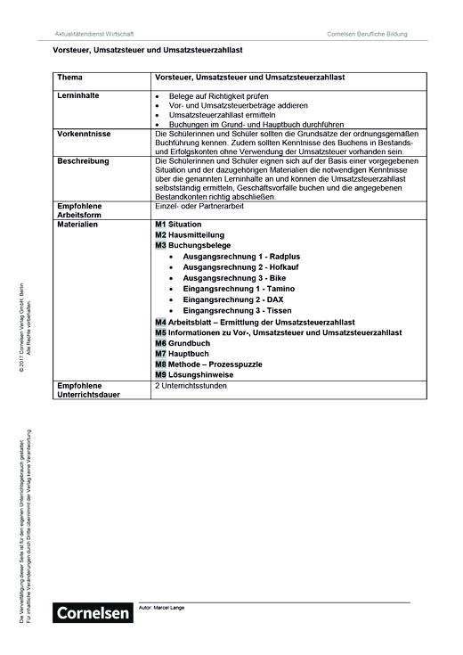 Lernsituation: Vorsteuer, Umsatzsteuer und Umsatzsteuerzahllast ...