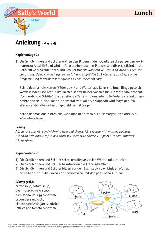 Lunch - Arbeitsblatt | Cornelsen