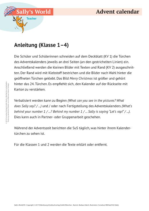 Advent calender - Arbeitsblatt | Cornelsen