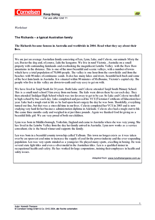 The Richards – a typical Australian Family - Arbeitsblatt   Cornelsen