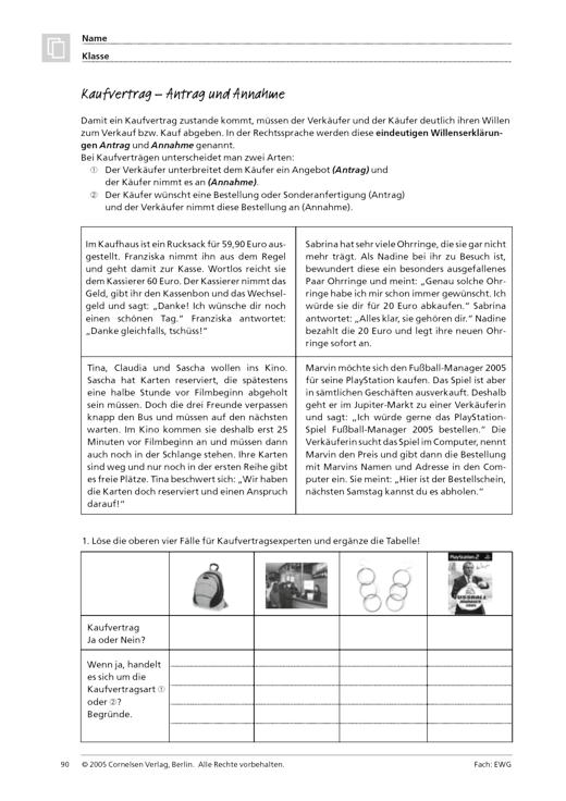 Kaufvertrag – Antrag und Annahme - Arbeitsblatt   Cornelsen