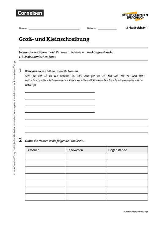 Super Groß- und Kleinschreibung - Arbeitsblatt | Cornelsen #US_53