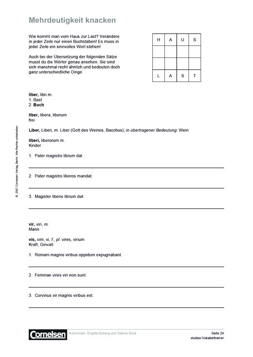 Mehrdeutigkeit knacken - Arbeitsblatt | Cornelsen