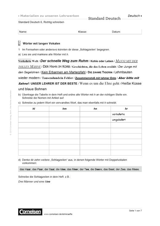 Standard Deutsch 6, Richtig schreiben: Wörter mit langen Vokalen ...