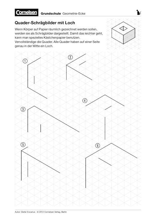 Arbeitsblatt Schrägbilder Xl : Quader schrägbilder mit loch arbeitsblatt cornelsen