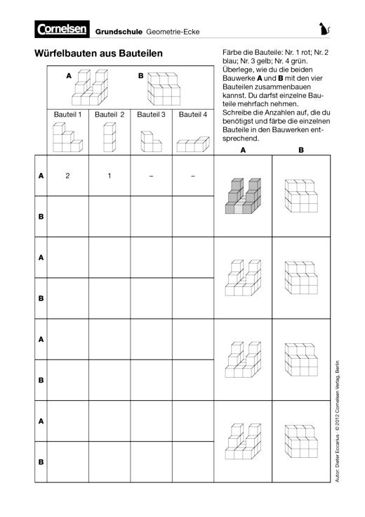 Würfelbauten aus Bauteilen - Arbeitsblatt | Cornelsen