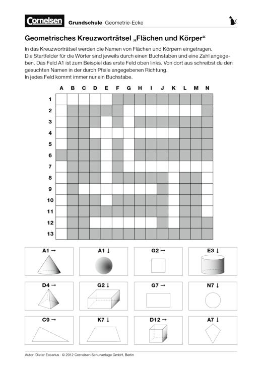 geometrisches kreuzwortrtselarbeitsblatt - Beispiel Kreuzwortratsel