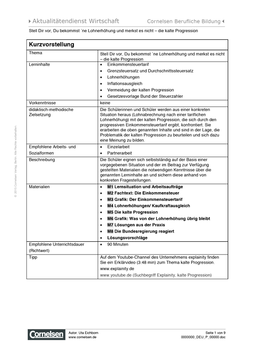 Lernsituation zum Thema Kalte Progression - Arbeitsblatt | Cornelsen