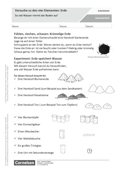 Versuche zu den vier Elementen: Erde - Arbeitsblatt | Cornelsen
