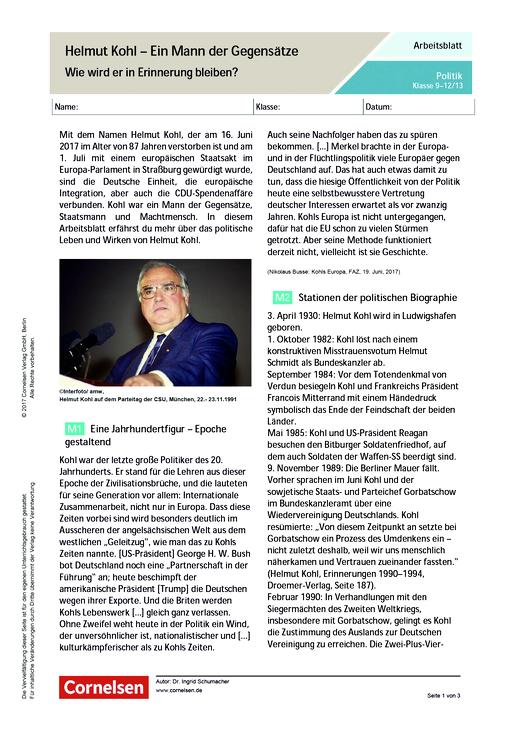 Helmut Kohl – Ein Mann der Gegensätze. Wie wird er in Erinnerung ...