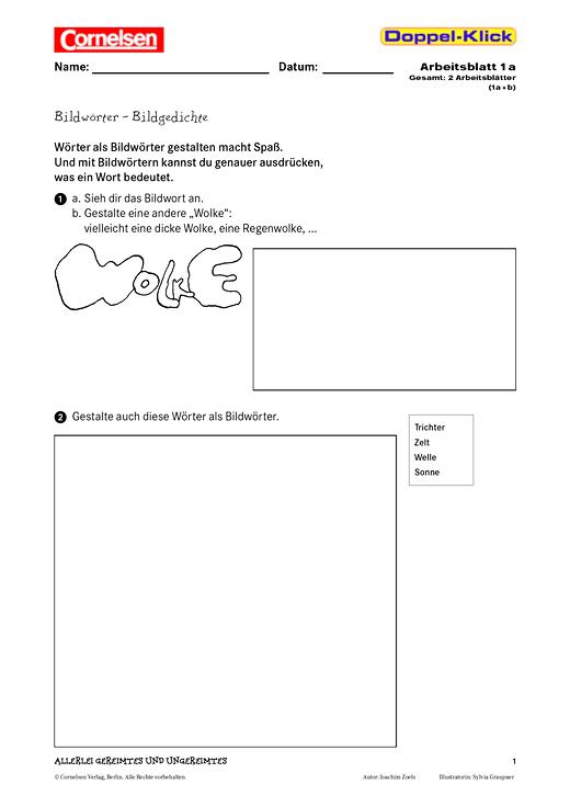 Gestalterisches Arbeiten: Bildwörter – Bildgedichte - Arbeitsblatt ...