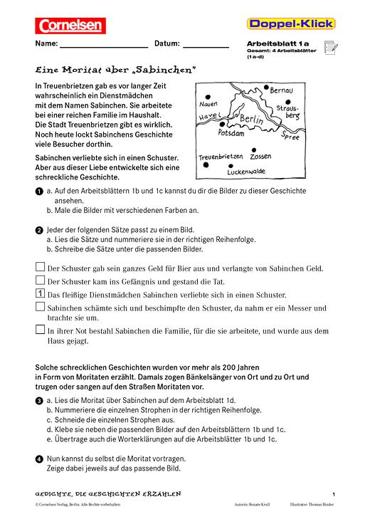 """Übung zum Textverständnis: Eine Moritat über """"Sabinchen ..."""