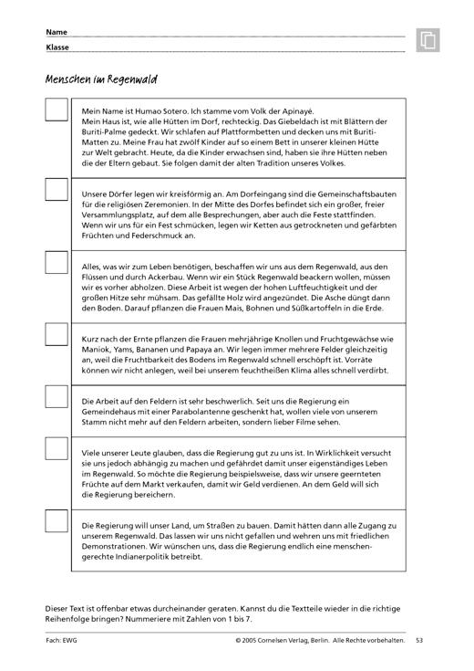 Menschen im Regenwald - Arbeitsblatt | Cornelsen